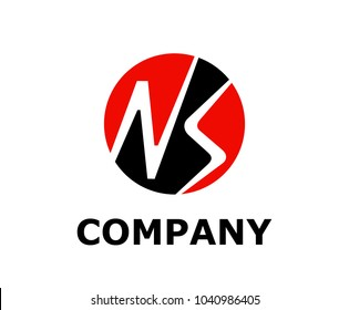 logo symbol type letter n and letter s silhouette logo design idea illustration in circle red and black color