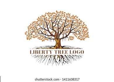 logo and symbols of the liberty tree vector