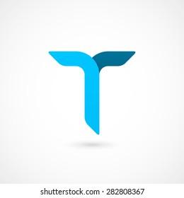 Logo T letter. Isolated on white background. Vector illustration, eps 10