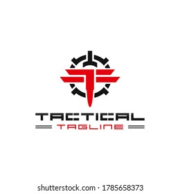 logo of tactical or military training, tactical sport, military team, bullet and scope, monogram TF