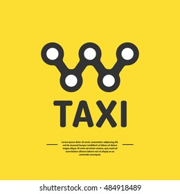 Logo for a taxi company. The emblem of private passenger transportation on a yellow background.