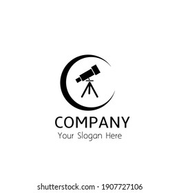logo telescope with the moon, can be used as logo or brand