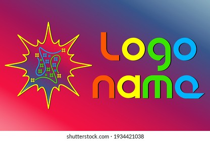Logo template with abstract stars, lines and flash. Vector illustration.