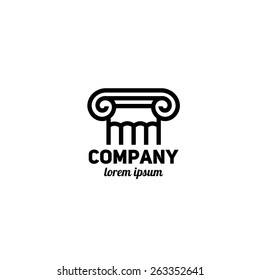 Logo template. Architecture element with column
