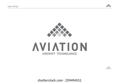 Logo template aviation technology, aircraft company industry. Brand, branding, identity, logotype, corporate. Clean and modern style design