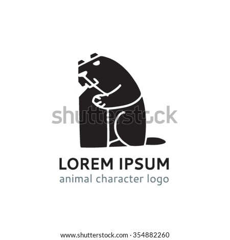 Logo Template Beaver Stock Vector Royalty Free 354882260