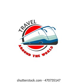 Logo template for bus tours, travel agents, freight company. Used  red,  blue and gray colors. Bus on the background of the circle and the sphere symbolizing the planet