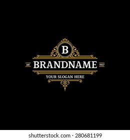 Logo template calligraphic elegant ornament lines. Sign for Restaurant, Royalty, Jewelry, Boutique, Cafe, Hotel, Heraldic.