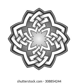 Logo template in Celtic knots style. Stylish tattoo symbol. Tribal sign in mandala form.