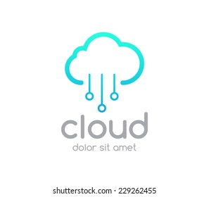 Logo template cloud service computing, download, upload, networking, wireless, database, transfer, share, brand, server, branding,company, corporate, logotype, identity