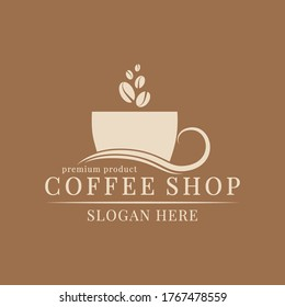 Logo template for a coffee shop, restaurant or cafe. Emblems, badges, stickers, banners. Coffee design elements.