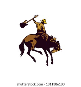 Logo Template of a Cowboy Riding a Horse Carrying a Guitar
