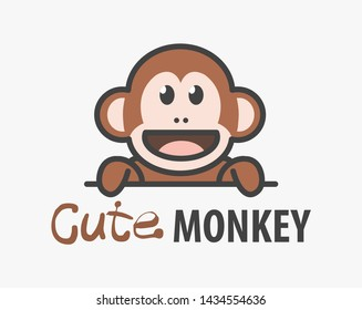 Logo template with cute monkey. Vector logo design ape template for zoo, veterinary clinics. Cartoon african animal logo illustration.