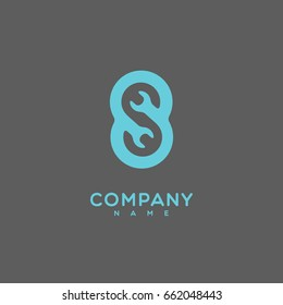 Logo template design with a stylize letter S on a gray background. Vector illustration.