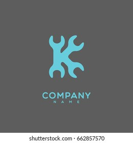Logo template design with a stylize letter K on a gray background. Vector illustration.