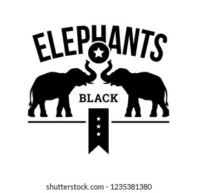 logo template, emblem, two elephants hold a ball with a star, the inscription on the ribbon