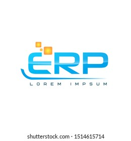 Logo template for ERP company in orange and blue colors. Flat vector graphic of word and shapes. Flat vector