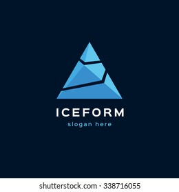 The logo template in the form of ice pyramids. Suitable for many types of businesses