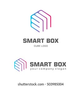Logo template hexagon design. Smart box