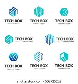 Logo template hexagon design. Tech box