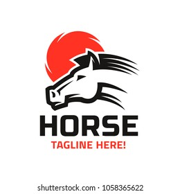 Logo template with the horse head image on red sun background.