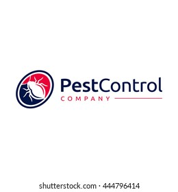 Logo template with the image of the bug in circle for pest control company