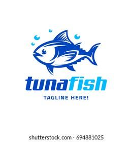 Logo template with the image of the cartoon tuna fish. Mascot. Illustration.