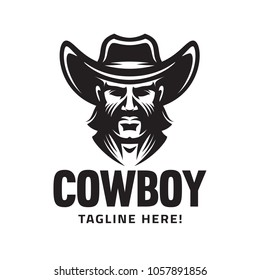 Logo template with the image of the man in hat. Cowboy. Sheriff. Mascot.