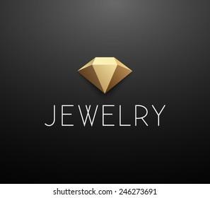 Logo template jewelry, diamond, golden, jewellery fashion, luxury, stylish, crystal, brand, branding, company, corporate, identity, logotype. Clean, modern and elegant style design