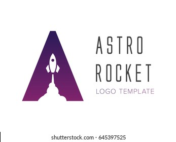 Logo template letter A with rocket launch symbol. Trending negative space design.
