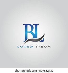 logo template letters BL elegant blue and gray shiny
