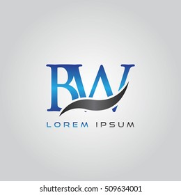 logo template letters BW elegant blue and gray shiny