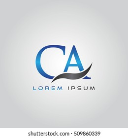 logo template letters CA elegant blue and gray shiny