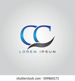 logo template letters CC elegant blue and gray shiny