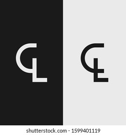 logo template letters CL elegant black and white