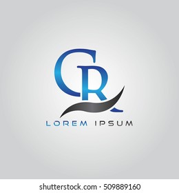 logo template letters CR elegant blue and gray shiny