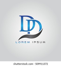 logo template letters DD elegant blue and gray shiny