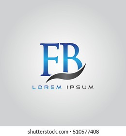 logo template letters FB elegant blue and gray shiny