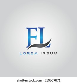 logo template letters FL elegant blue and gray shiny