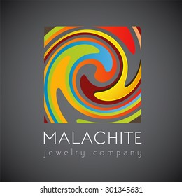 Logo template, malachite, luxury, fashion, abstraction, vector