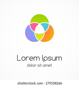 Logo template. Modern vector abstract circle creative sign or symbol. Design geometric element.