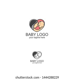 Logo template. Mom and baby. Mother's care sign. Symbol of parental love. illustration. Icon mother and baby. - Vector