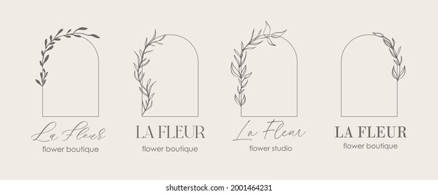 Logo template, monogram concept in trendy linear style with arch - floral frame. Emblem for fashion, beauty and jewellery, Wedding invitation, socia. La Fleur - flower in french.