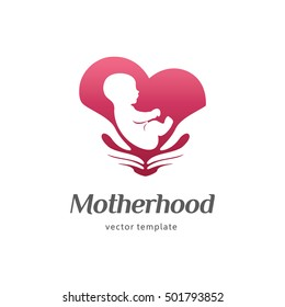 Logo template of motherhood, baby care, family love, pregnancy, childbearing