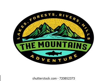 Logo template mountain and river in style badge