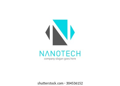 Logo template nano technology, laboratory, molecular. Brand, branding, company, corporate, identity, logotype. Clean and modern style design