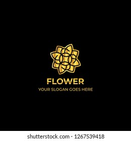 logo template nature gold color symbol luxury elegant beauty fashion boutique flower - Vector
