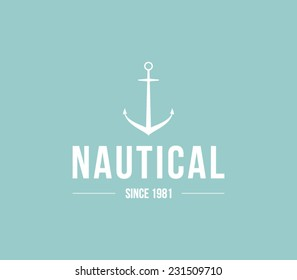 Logo template nautical, marine, sail, anchor. Retro vintage, hipster, brand, branding, company, corporate, identity, logotype. Clean, modern and elegant style design
