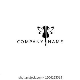 Logo, template, needle, mannequin, butterfly, tailor emblem, element for Studio sewing, logo atelier