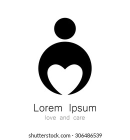 logo template - a person with a heart. The idea for the sign identifying the organization, fund community. Symbol of love, care, protection.